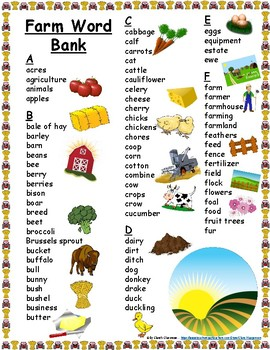 Farm Student Printable Word Bank