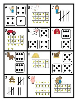 Farm Subitizing & Number Sense:  Tally Marks, Dice, and Ten Frames