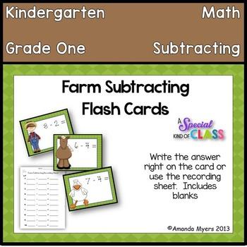Farm Subtraction Flash Cards