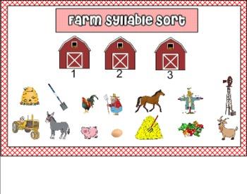Farm Syllable Sort for Smart Board