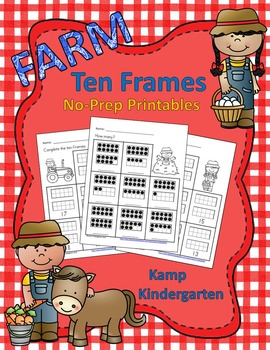 Farm Ten Frames No-Prep Printables Practice Packet (Quantities of 11 to 20)