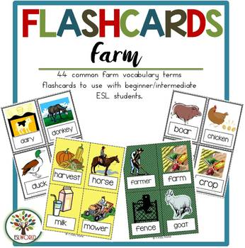 Farm Terms {36 Flashcards & Games} ESL Adults & Grades 4-6