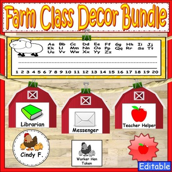 Farm Theme Labels Classroom Decor