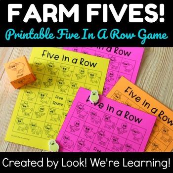 Farm Theme Activities: Printable Farm Five In A Row Game