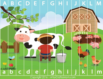 Farm Theme Alphabet Sequencing Puzzle