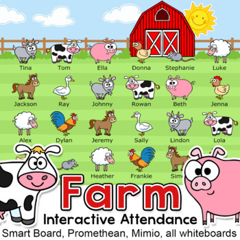 Farm Theme Attendance for All Whiteboards and Smartboards