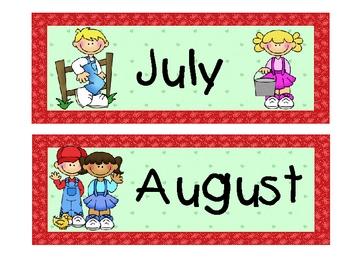 Farm Theme Calendar Months