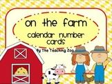 Farm Theme Calendar Number Cards