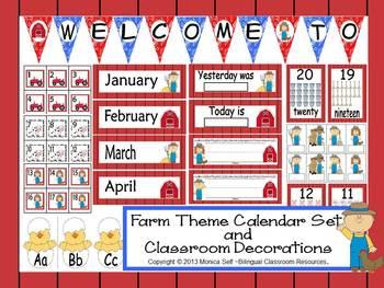 Farm Theme Calendar Set and Classroom Decorations