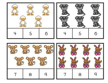 Farm Theme Clip Cards Counting to 10