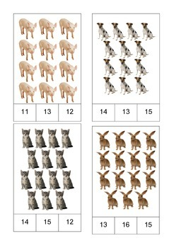 Farm Theme! Count and Clip Cards #1-19