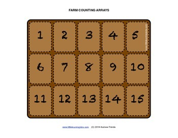 Farm Theme Counting Arrays - Count to 15 and practice making arrays