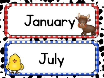 Farm Theme Days of the Week and Months of the Year, Calendar, Farm Animals