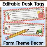 Farm Theme Desk Name Tags Editable