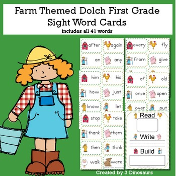 Farm Theme Dolch First Grade Sight Words