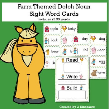 Farm Theme Dolch Noun Sight Words