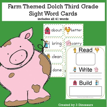 Farm Theme Dolch Third Grade Sight Words