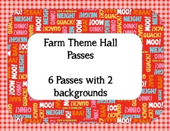 Farm Theme Hall Passes