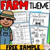 Farm Theme Kindergarten Activities FREEBIE