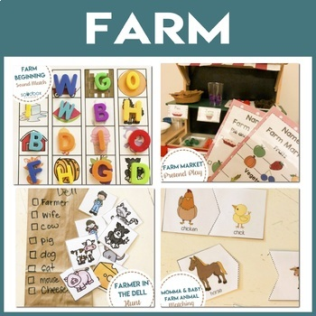 Farm Theme Math, Literacy, STEM, and Art Activities for Preschool and Pre-K