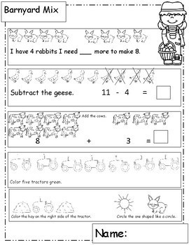 Farm Theme Math Worksheets for Your Farm Unit