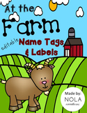 Farm Theme Name Tags and Labels- Editable