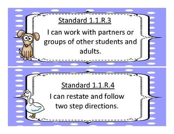 Oklahoma First Grade Academic Standards, Language and Math, Animal Theme