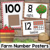 Farm Theme Number Posters - Ten Frames, Apple Trees, Base Ten Blocks