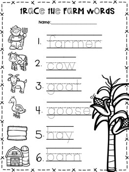 Farm Theme Pocket Chart Pictures and Word Cards