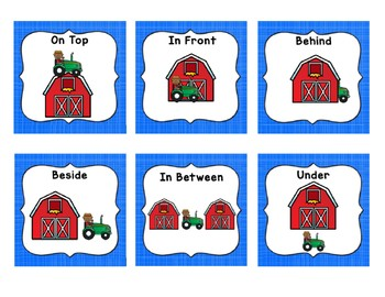 Farm Theme Positional Words Game