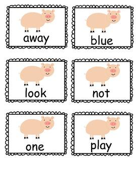 Farm Theme Preprimer Sight Word Set  Oink Words (second set)