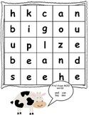 Farm Theme Preprimer Sight Word Set (first 12 words)