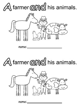 Farm Theme Sight Word Books.  Interactive tracing.  Set on