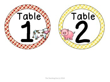 Farm Theme Table Numbers