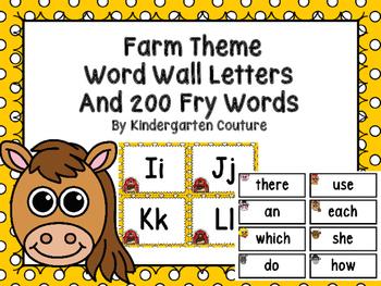 Farm Theme Word Wall