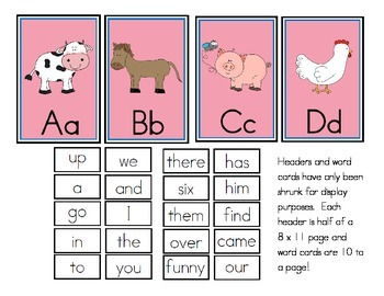 Farm Theme Word Wall Headers and Sight Words