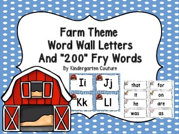 Farm Theme Word Wall (Letters and 200 Fry Words)