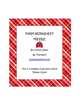 Farm Theme Worksheet- Following Directions- Freebie