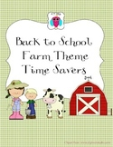 Farm Themed Back to School Time Savers