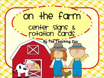 Farm Themed Center Signs and Rotation Cards