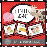 Farm Themed Center Signs for Preschool and Kindergarten