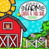 Farm Themed Centers and Table Signs  **editable**