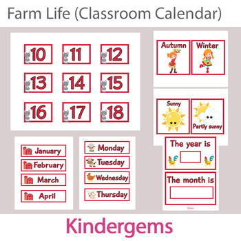 Farm Themed Classroom Calendar Instant Download PDF; Preschool, Kindergarten