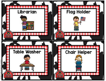 Farm Themed Classroom Jobs- Classroom Decor