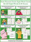 Farm Themed Dolch Sight Words & Nouns Cards