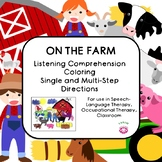 Farm Themed NO PREP Following Directions Listening Comprehension Coloring Page