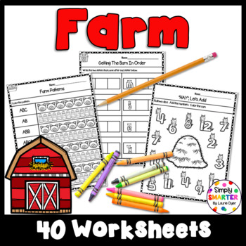 Farm Themed Kindergarten Math and Literacy Worksheets and Activities