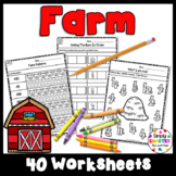 Farm Themed Kindergarten Math and Literacy Worksheets and
