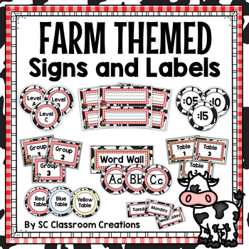 Farm Themed Labels and Signs-Classroom Decor