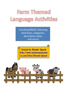 Farm Themed Language Activities
